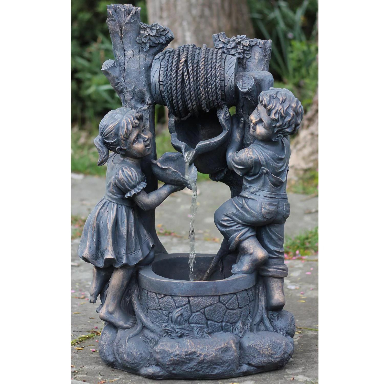 30 Les Enfants Au Puits Extrieur Patio Jardin Fontaine Deau