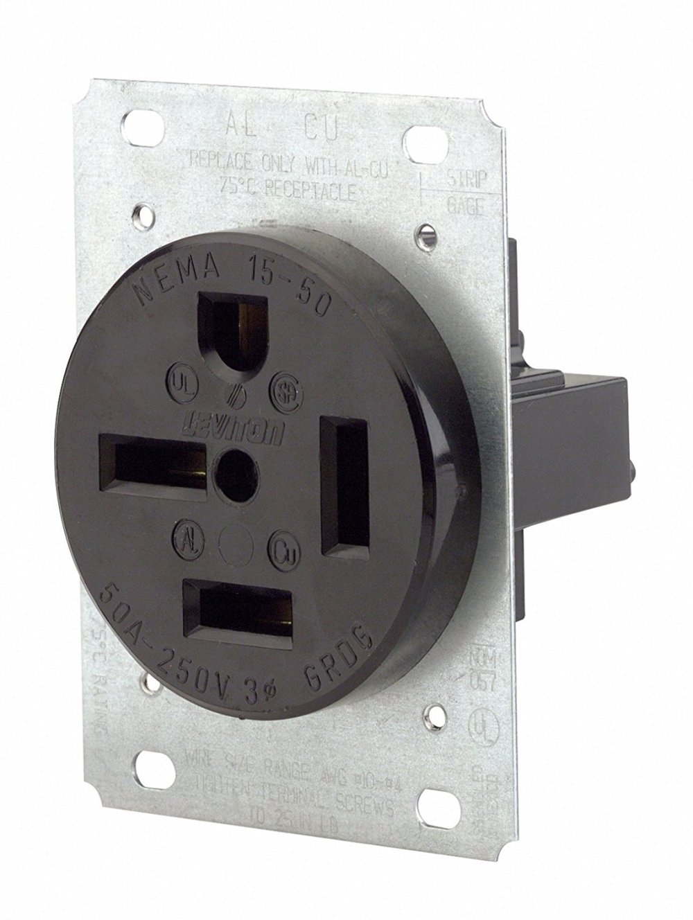 medium resolution of leviton 8450 50 amp 250 volt flush mounting receptacle straight blade industrial