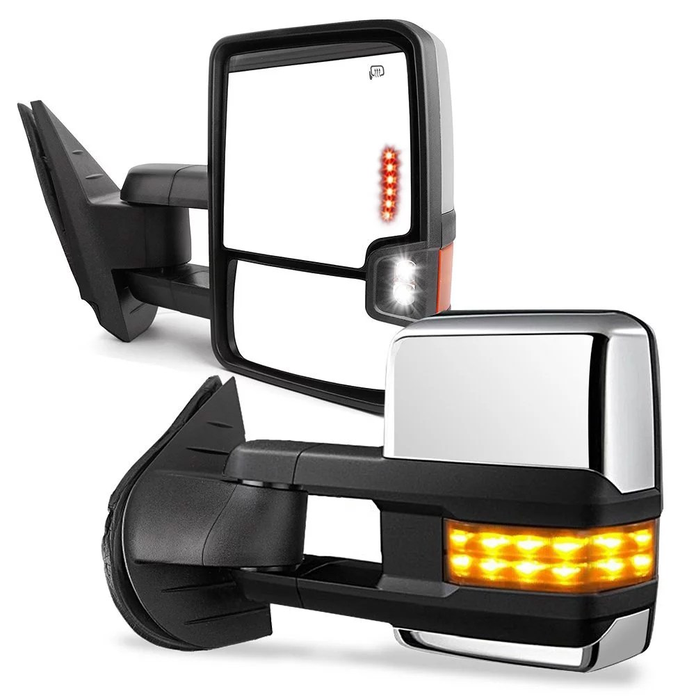 hight resolution of towing mirrors for 07 13 chevy silverado gmc sierra truck chrome cover power heated tow signal arrow clearance lamps side mirrors walmart com