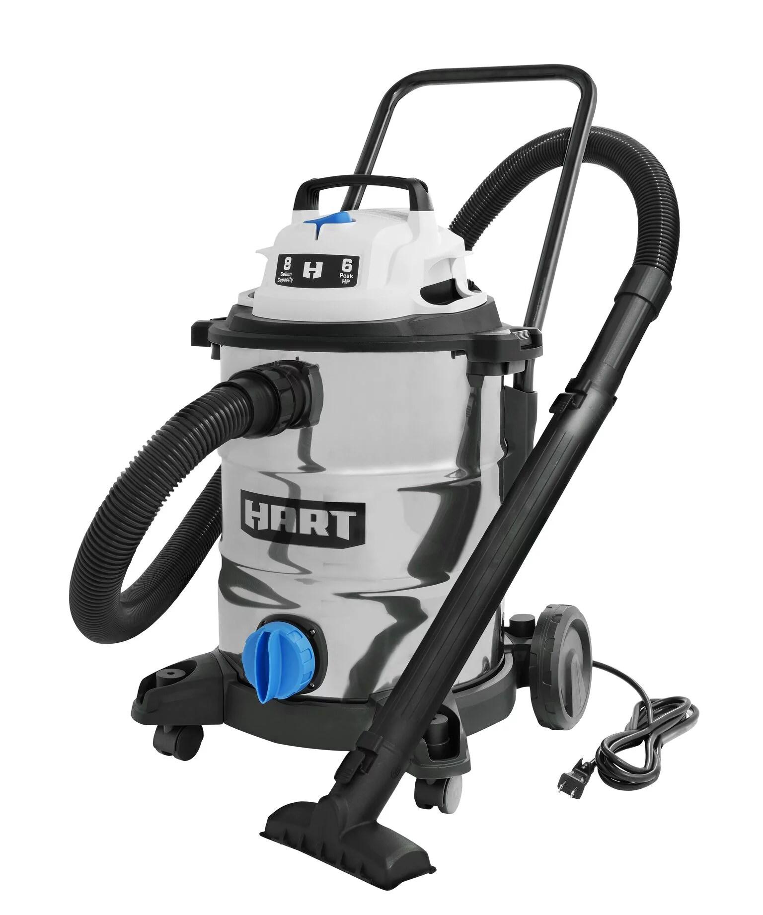 hart 8 gallon 6 0 peak hp stainless steel wet dry vacuum