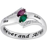 Couple's Personalized Promise Ring in Sterling Silver with ...