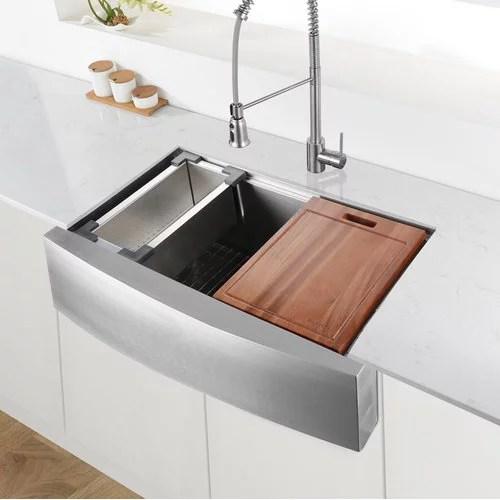 ruvati verona workstation 36 l x 21 w double basin apron kitchen sink