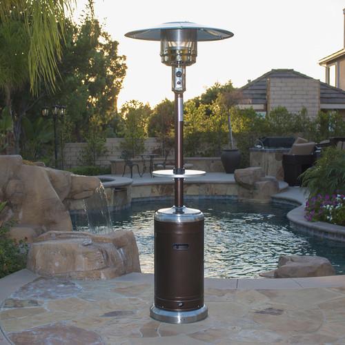 belleze 48 000 btu outdoor patio heater lp gas w drink table wheels bronze stainless steel