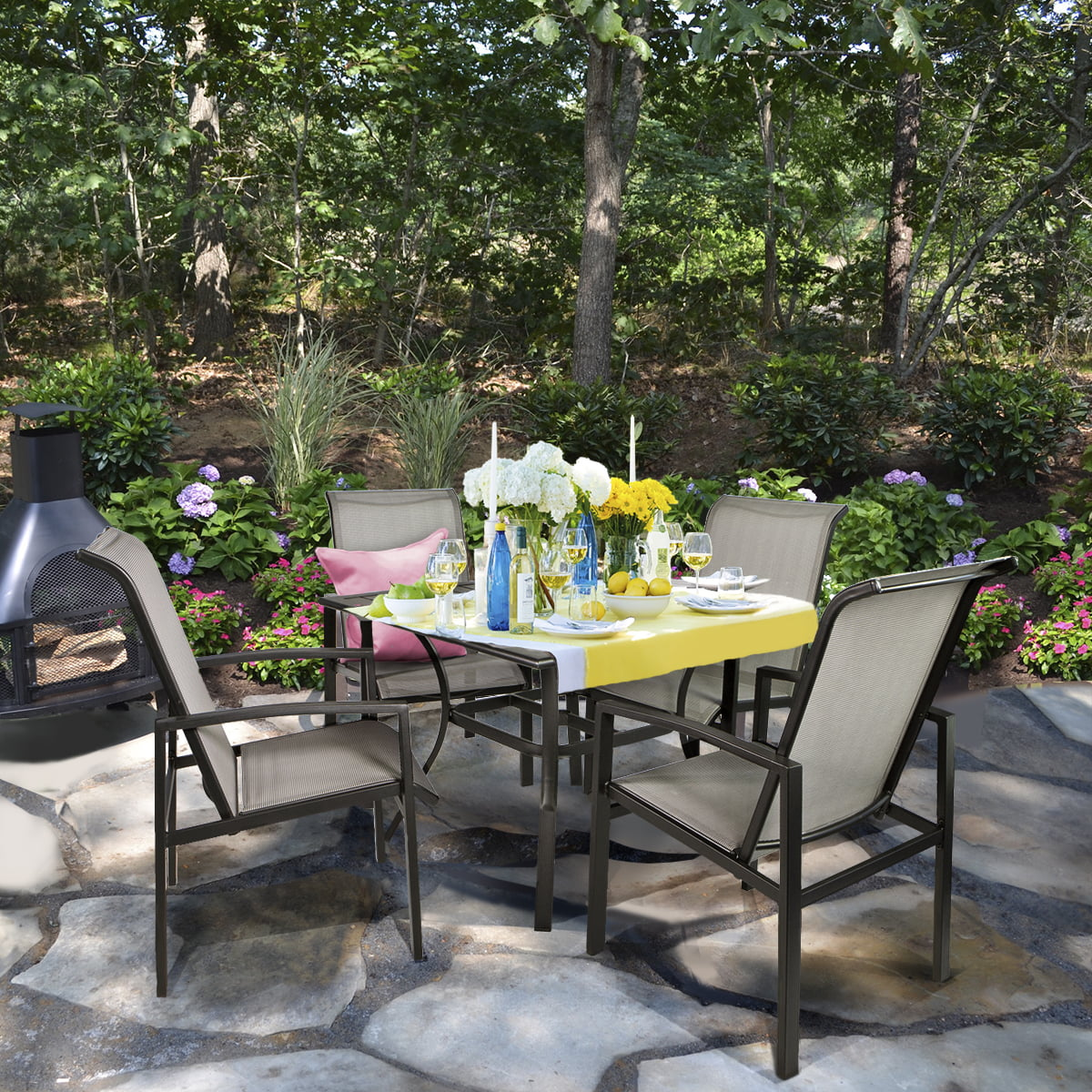 5pc outdoor patio table chair set mesh dining set gray
