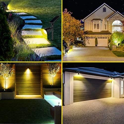 roshwey 2pack 18 led solar spot lights outdoor ip65 waterproof landscape spotlight flood lamps for garden lawn backyard patio porch wall deck garage