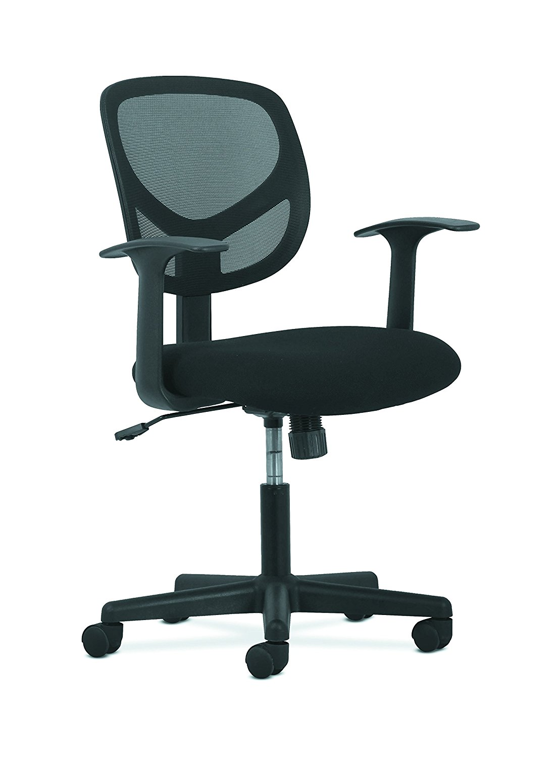 office chair support for upper back small apartment table and chairs basyx swivel mid mesh task with arms ergonomic computer hvst102 cooling work added comfort breathable