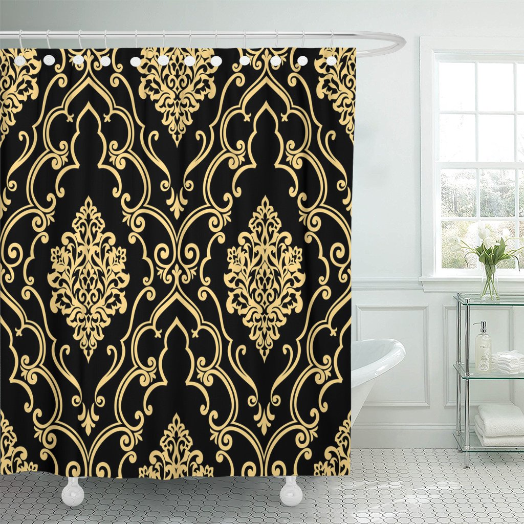 pknmt scroll in the of baroque damask gold and black polyester shower curtain 60x72 inches