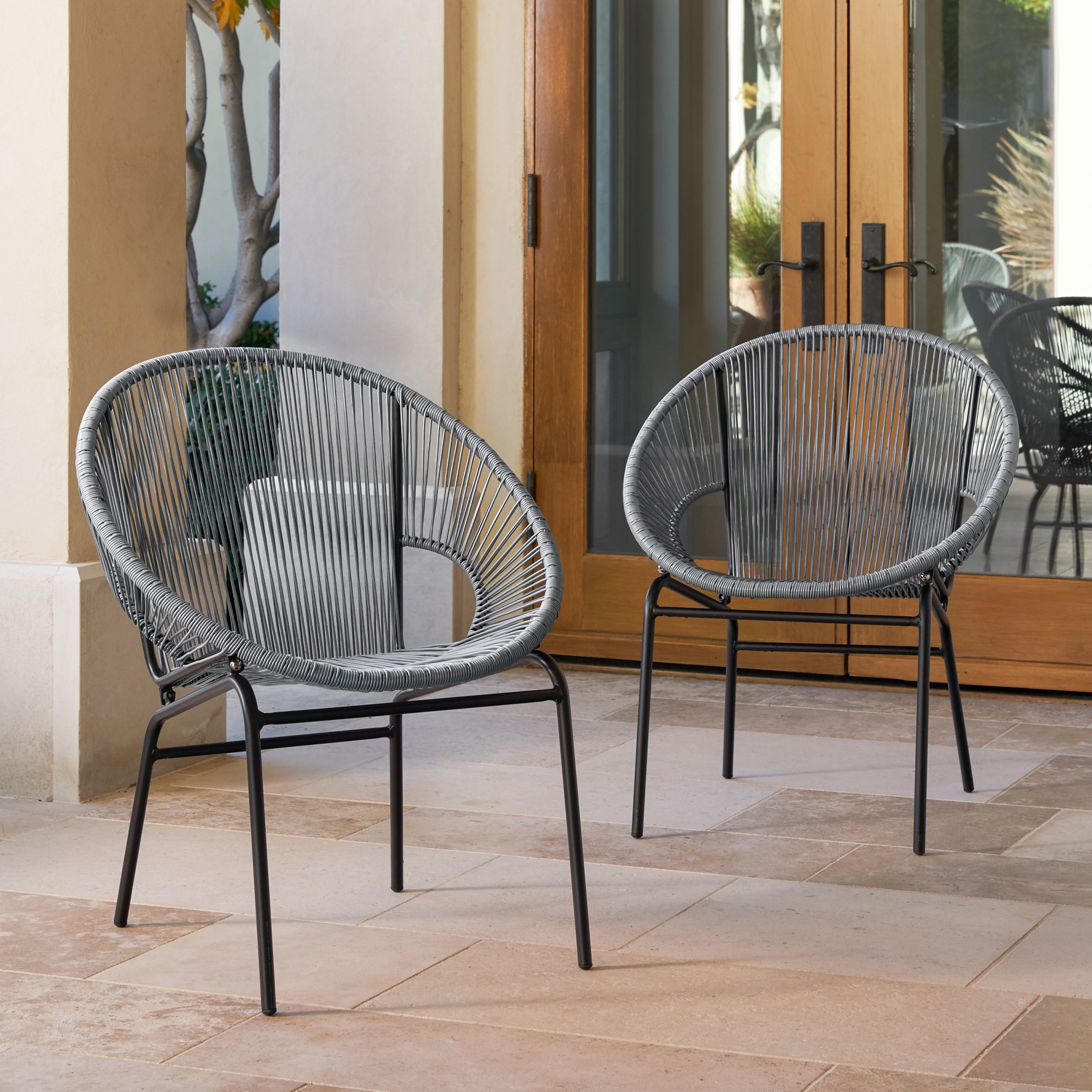 wicker patio chair set of 2 country french side chairs corvus sarcelles woven walmart com