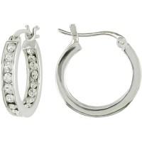 Cubic Zirconia Sterling Silver Hoop Earr