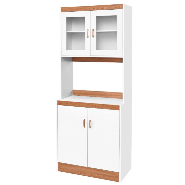 Gymax Tall Microwave Cart Stand Kitchen Storage Cabinet Shelves Pantry Cupboard White Walmart Com Walmart Com