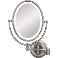 LED Lighted Wall Mount Oval Make-Up Mirror 10X-1X ...