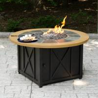 Round LP Gas Fire Pit Bowl with Slate and Faux Wood Mantel ...