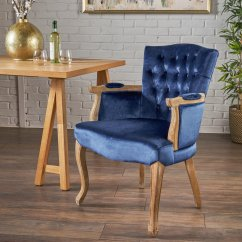Navy Blue Dining Chair Swivel Icon Noble House Traditional Velvet