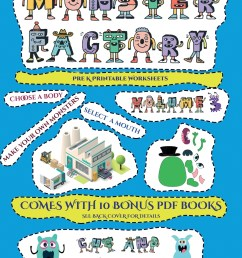 Pre K Printable Worksheets: Pre K Printable Worksheets (Cut and paste  Monster Factory - Volume 3) : This book comes with collection of  downloadable PDF books that will help your child make [ 1360 x 1051 Pixel ]