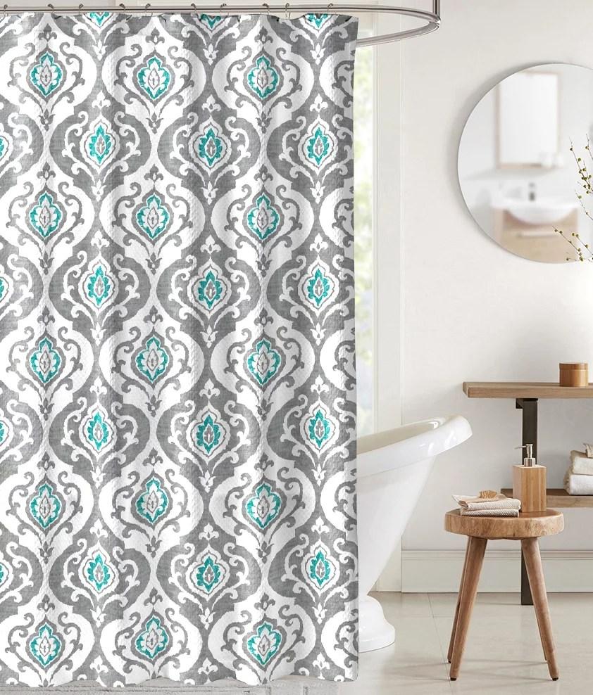 teal gray damask shower curtain for bathroom
