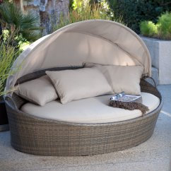 All Weather Garden Chair Office Deal Coral Coast Moorea Wicker Cabana Day Bed With Canopy Walmart Com