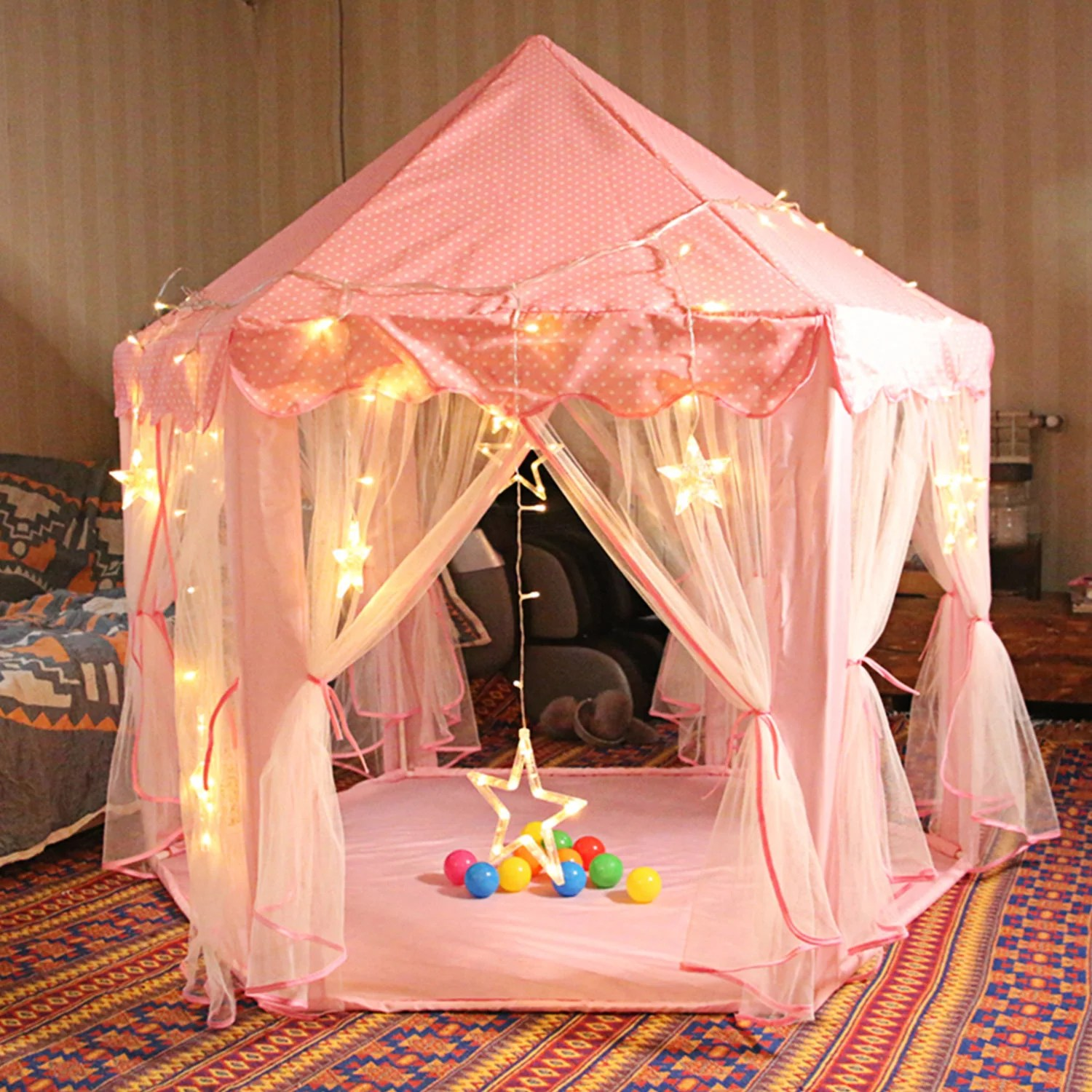 imountek indoor outdoor fairy princess castle tent 55 x53 tent play house tent gift with carry case