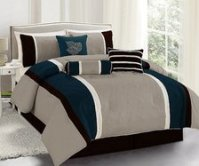 Legacy Decor 7 Pc Navy, Brown and Taupe Striped Comforter ...