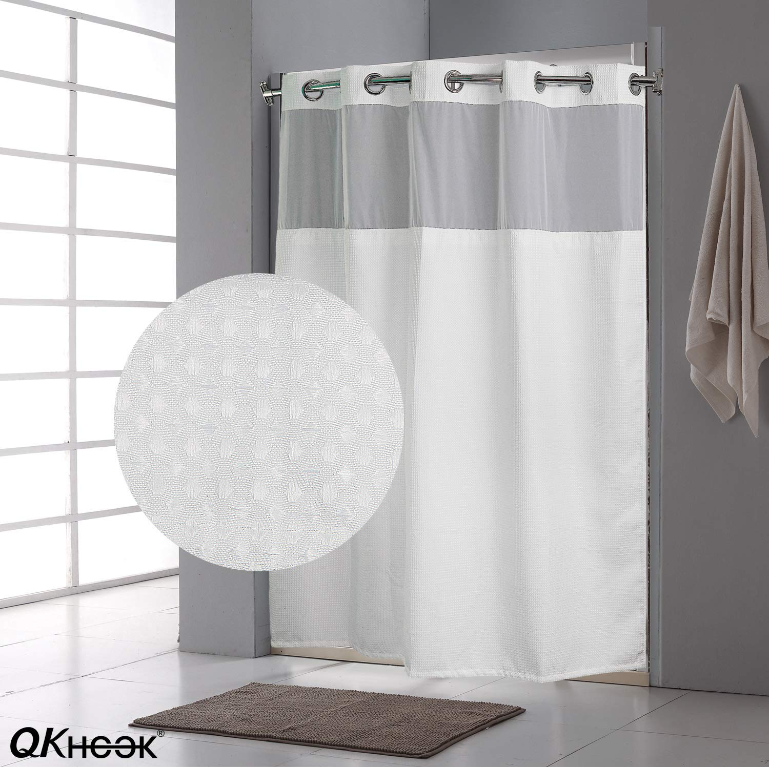 qkhook hookless shower curtain with snap in liner 1 pack 71x74 inches mildew resistant fabric waffle water repellent and antibacterial walmart com