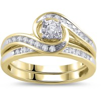 1/3 Carat Diamond Yellow Gold Bypass Bridal Ring Set ...