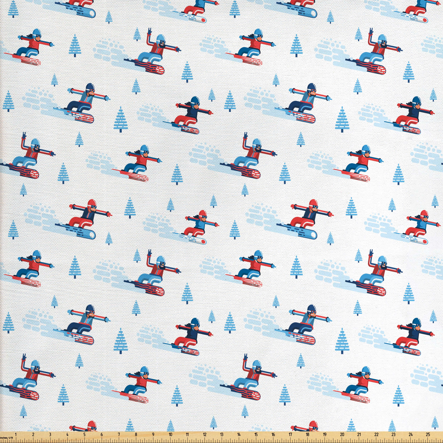 Ski Pattern Fabric By The Yard Snowboarder Men And Women
