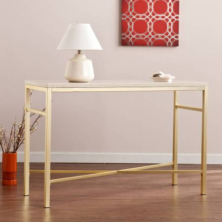 Southern Enterprises Theodora Faux Stone Console Table, Cream Travertine