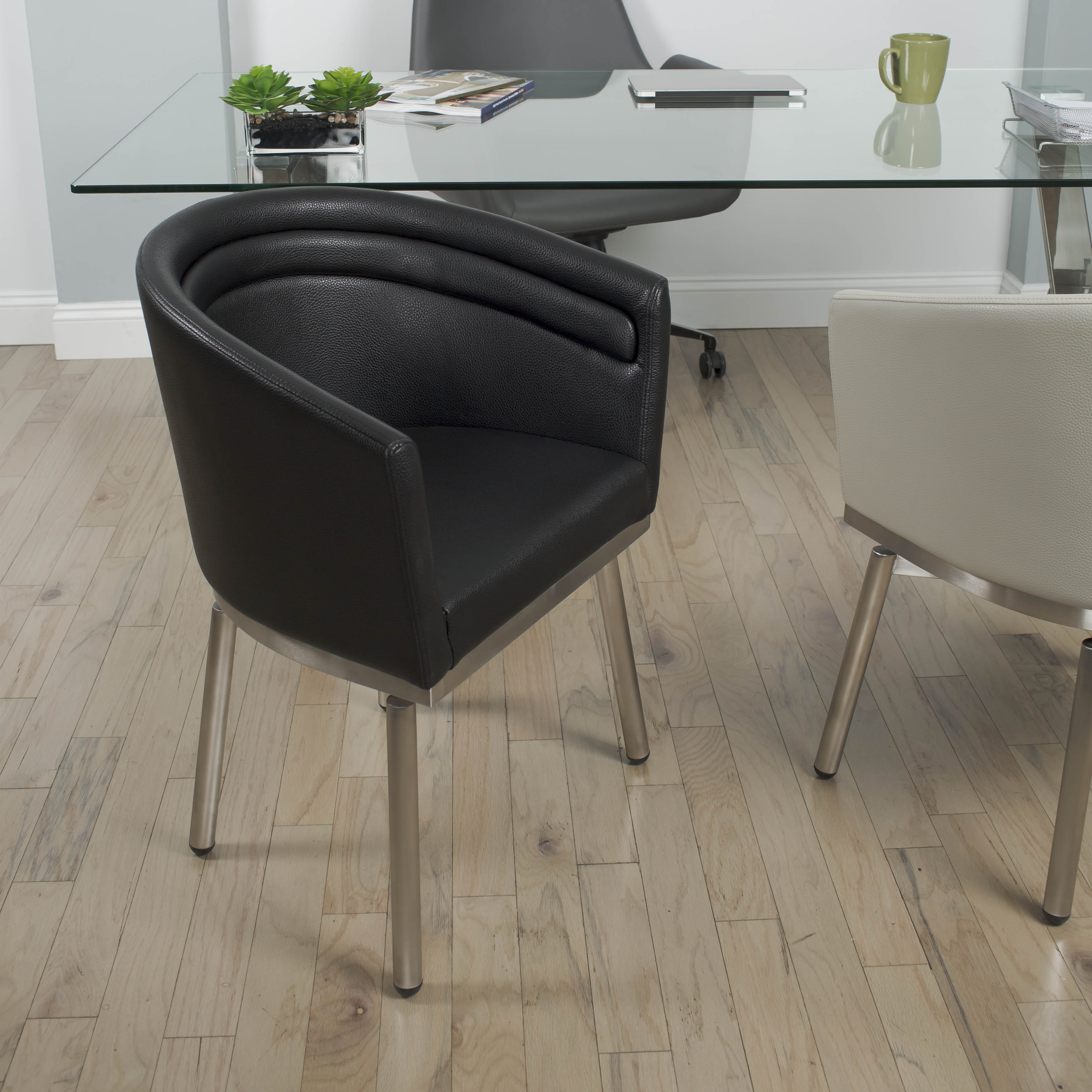 table with swivel chairs quality directors matrix brushed stainless steel round glass dining and memory 5 piece set walmart com