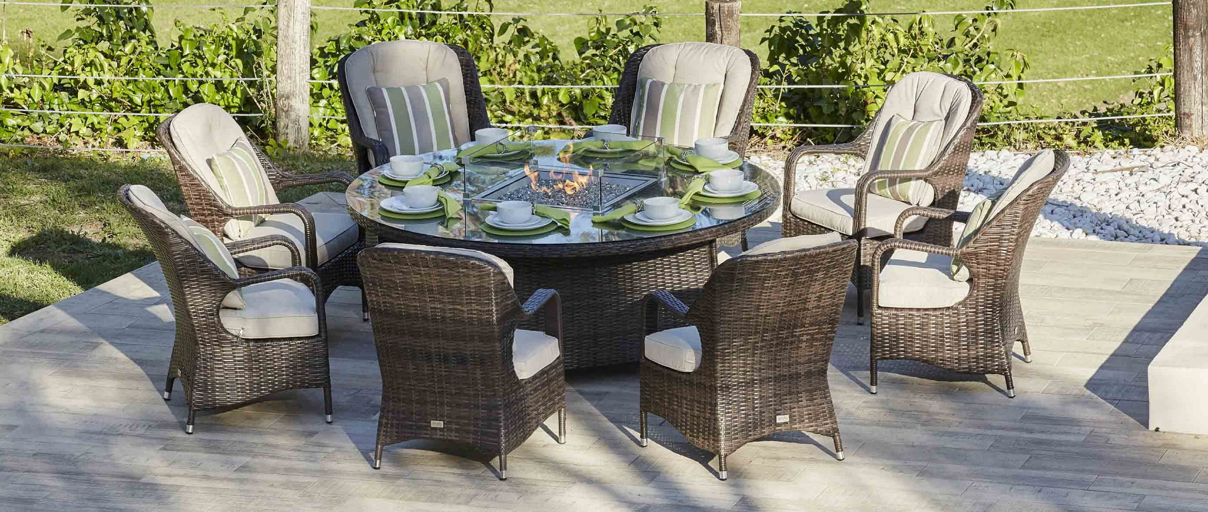 round brown 8 seat gas fire pit outdoor dining table rattan wicker patio multi purpose use bbq grill plate with stainless steel fire pit cover glass
