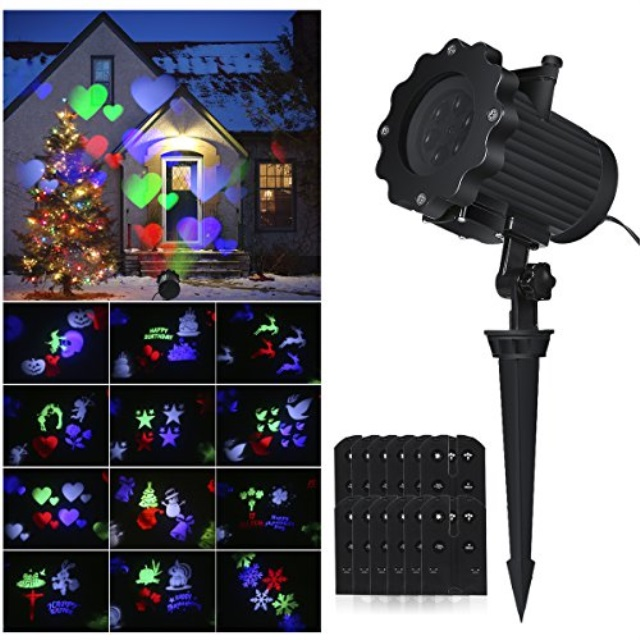 Outdoor 16 Film Pattern Halloween Decoration Xmas Moving Projector Light Remote