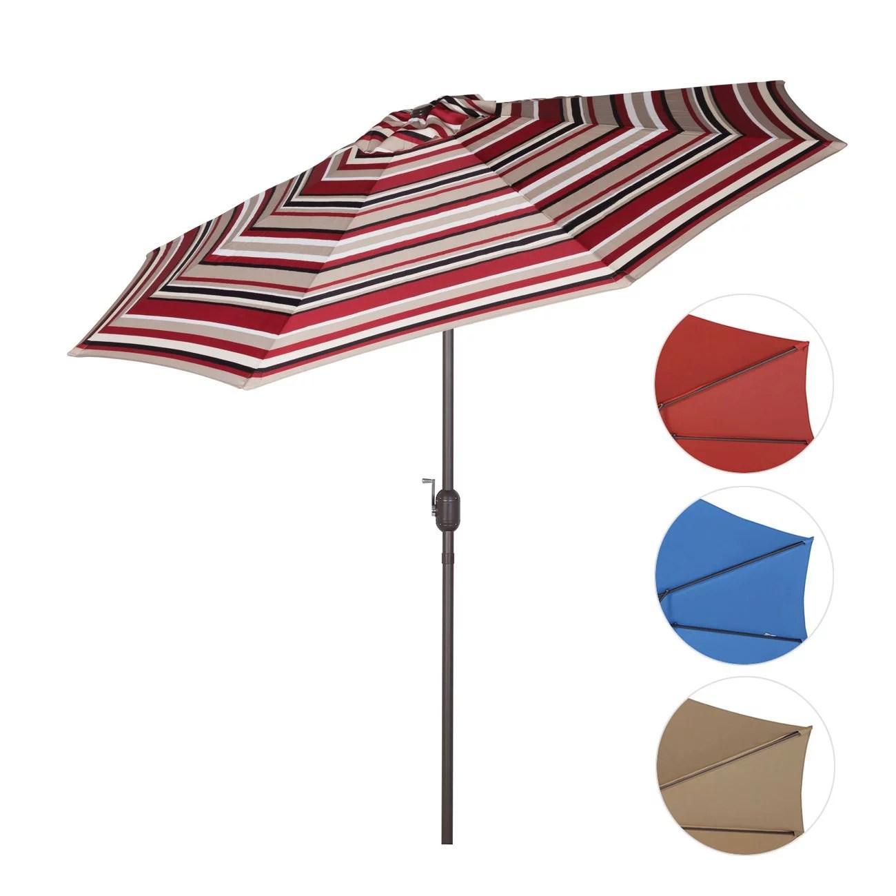 Sekey 9ft Outdoor Umbrella Red stripesPatio Umbrella Red