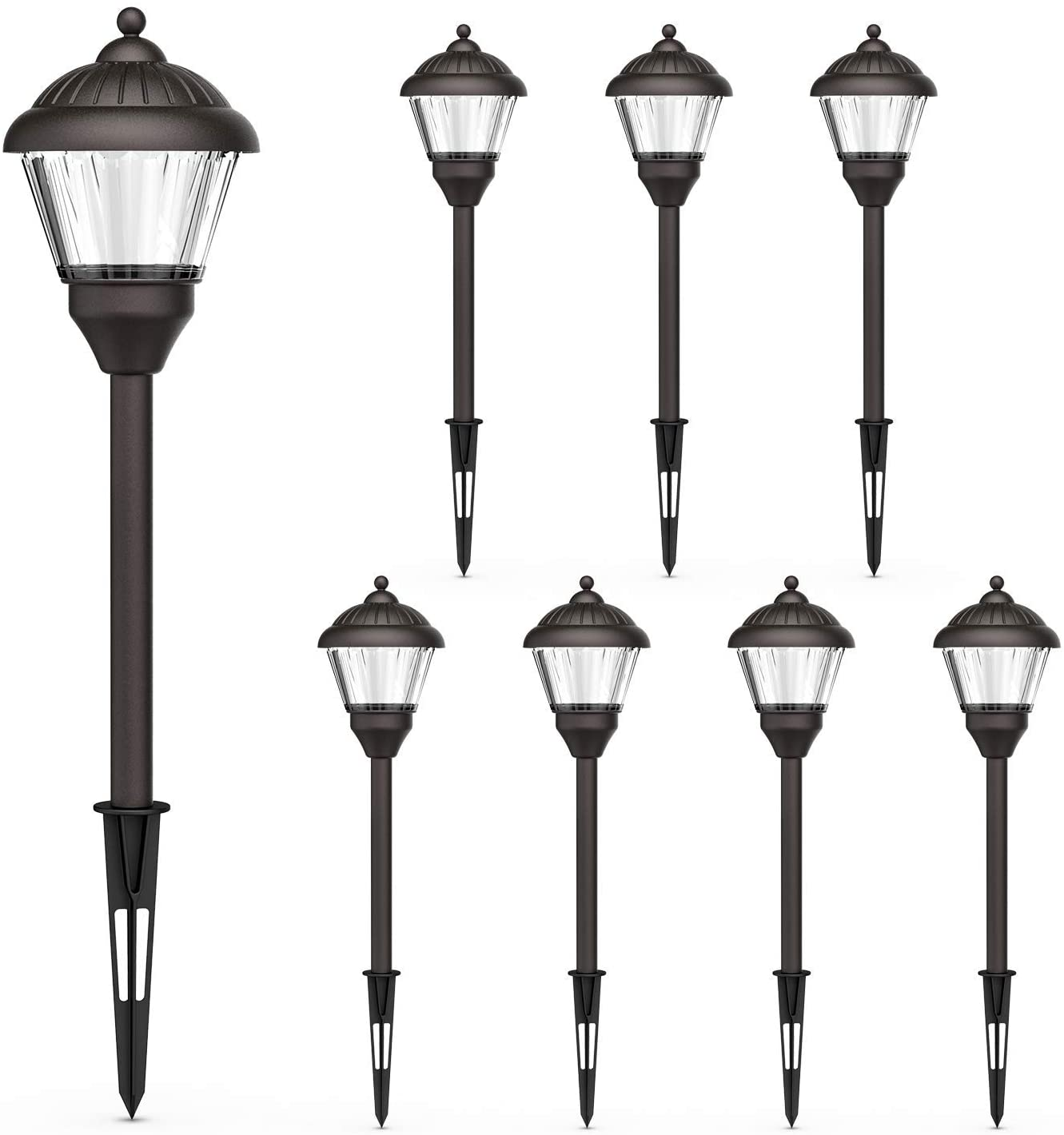 goodsmann 8 pack landscape lighting low voltage path lights led 1 5 watt outdoor lights with metal spike and connector 100 lumens for garden patio