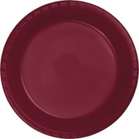 """Touch of Color Plastic Dinner Plate, 9"""", Burgundy, 20 Ct ..."""
