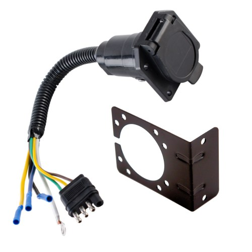 small resolution of 4 wire flat to 7 way converter adapter rv trailer light wire harness and bracket walmart com