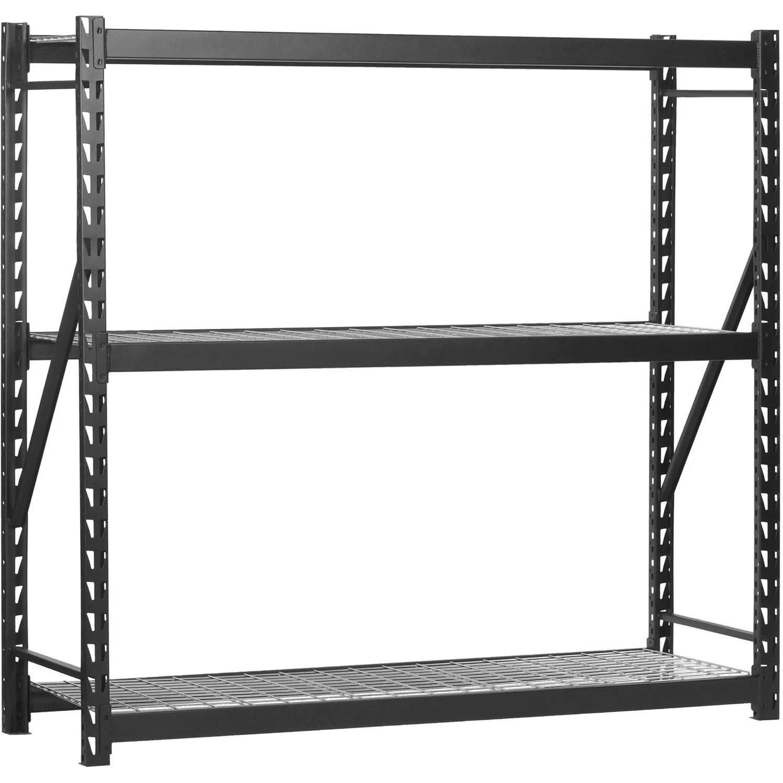 muscle rack 3 tier black 77 w x 24 d x 72 h steel welded storage rack 150 pound capacity