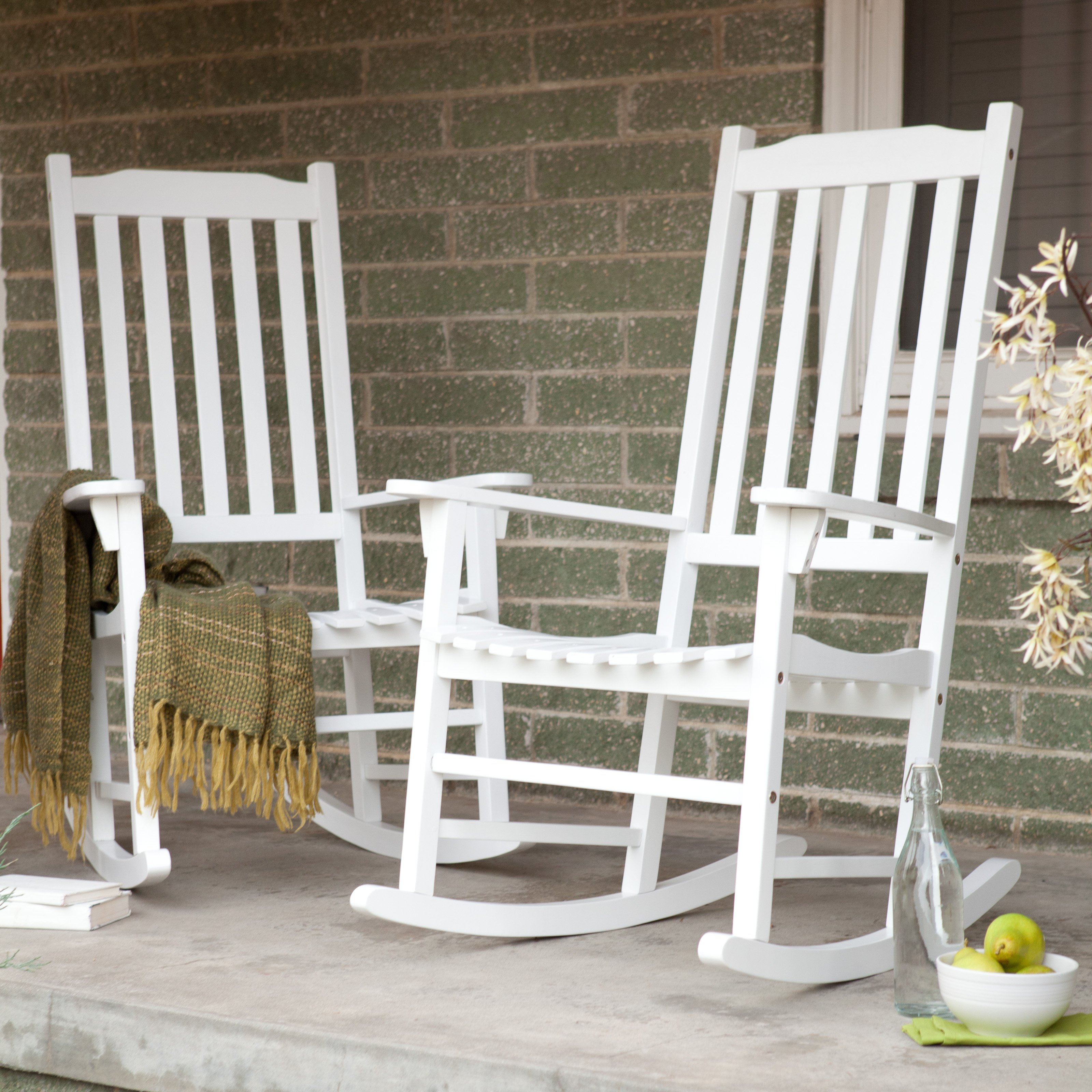 white indoor rocking chair lounge chairs coral coast outdoor mission slat set of 2 walmart com