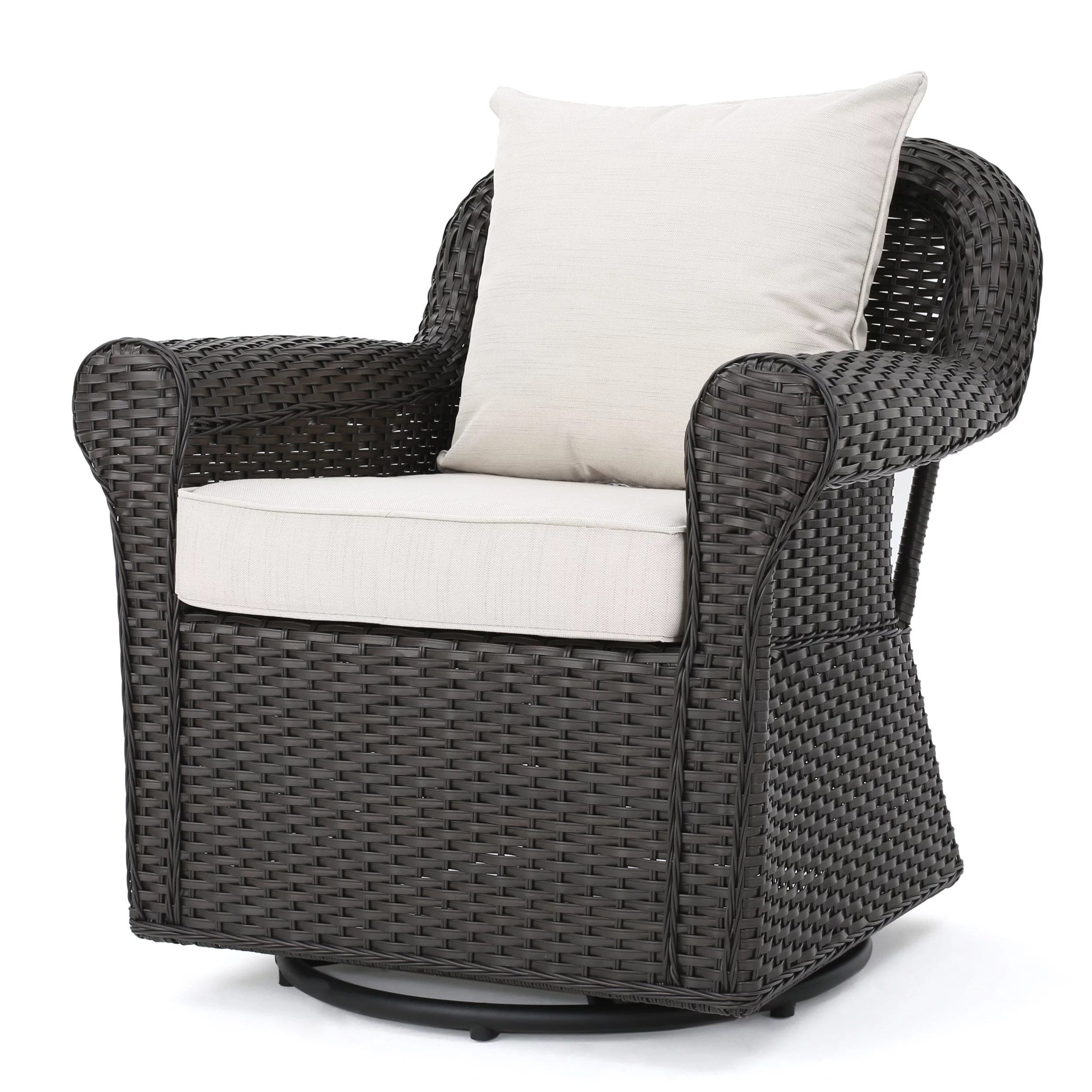 Wicker Swivel Chair Admiral Outdoor Dark Brown Wicker Swivel Rocking Chair With Cushions Beige