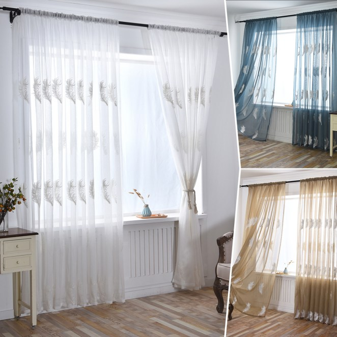 """Embroidered Feather Sheer Curtains Window Voile Panels for Bedroom 39.27x98.42"""""""