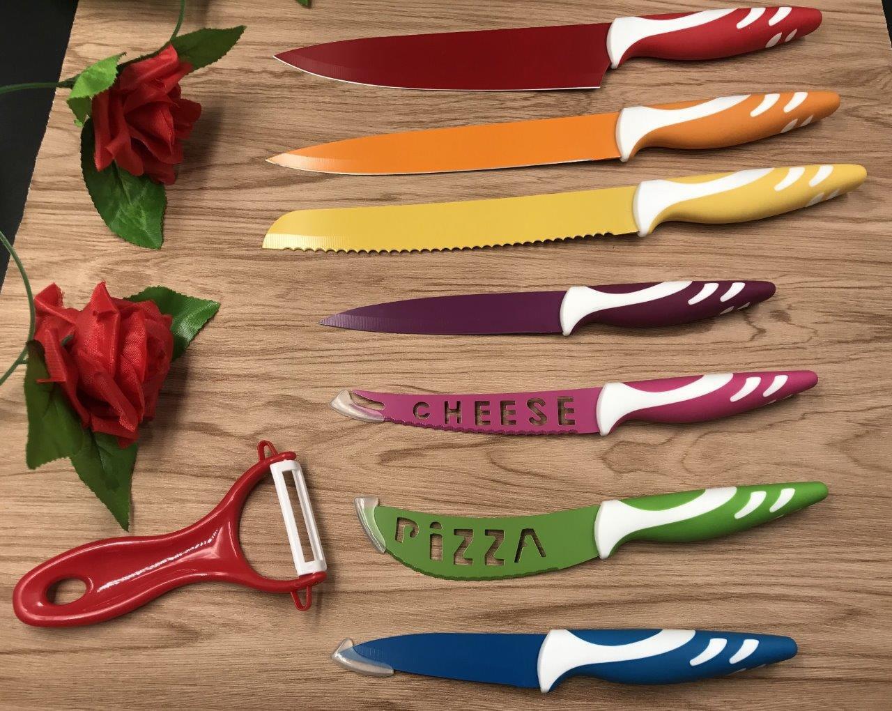 kitchen knives sets appliance bundles lightahead stainless steel 8 pcs colored set chef bread slicer