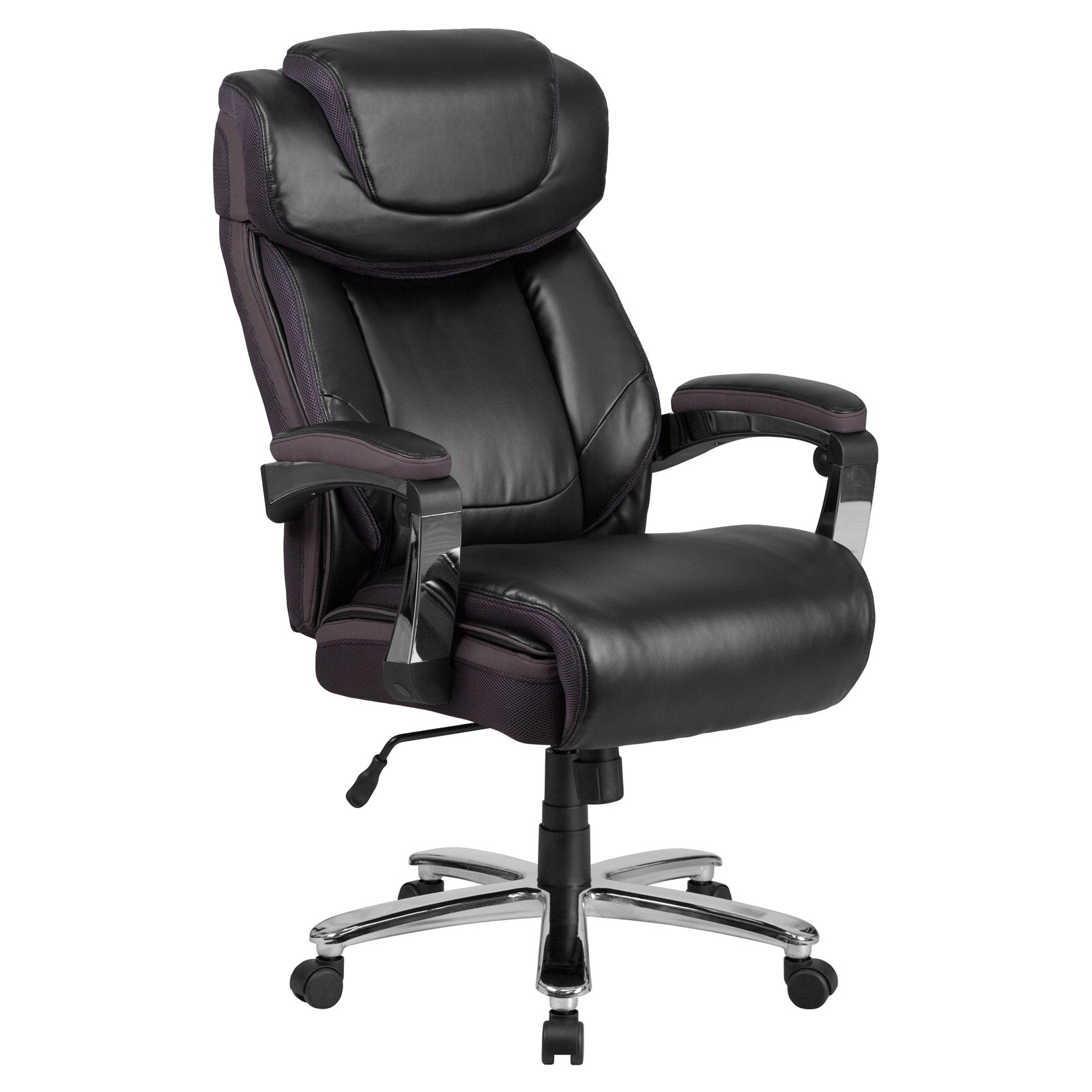 swivel office chair with wheels cafeteria tables chairs attached flash furniture hercules series 500 lb capacity big tall black leather executive height adjustable headrest walmart com