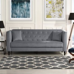 Tufted Button Sofa Small White Cheap Mid Century Velvet Living Room Couch With Buttons Grey Walmart Com