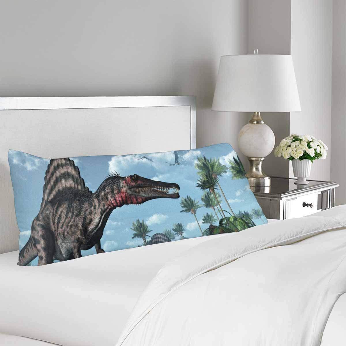 gckg tropical prehistoric scene dinosaur body pillow covers pillowcase 20x60 inches palm tree body pillow case protector