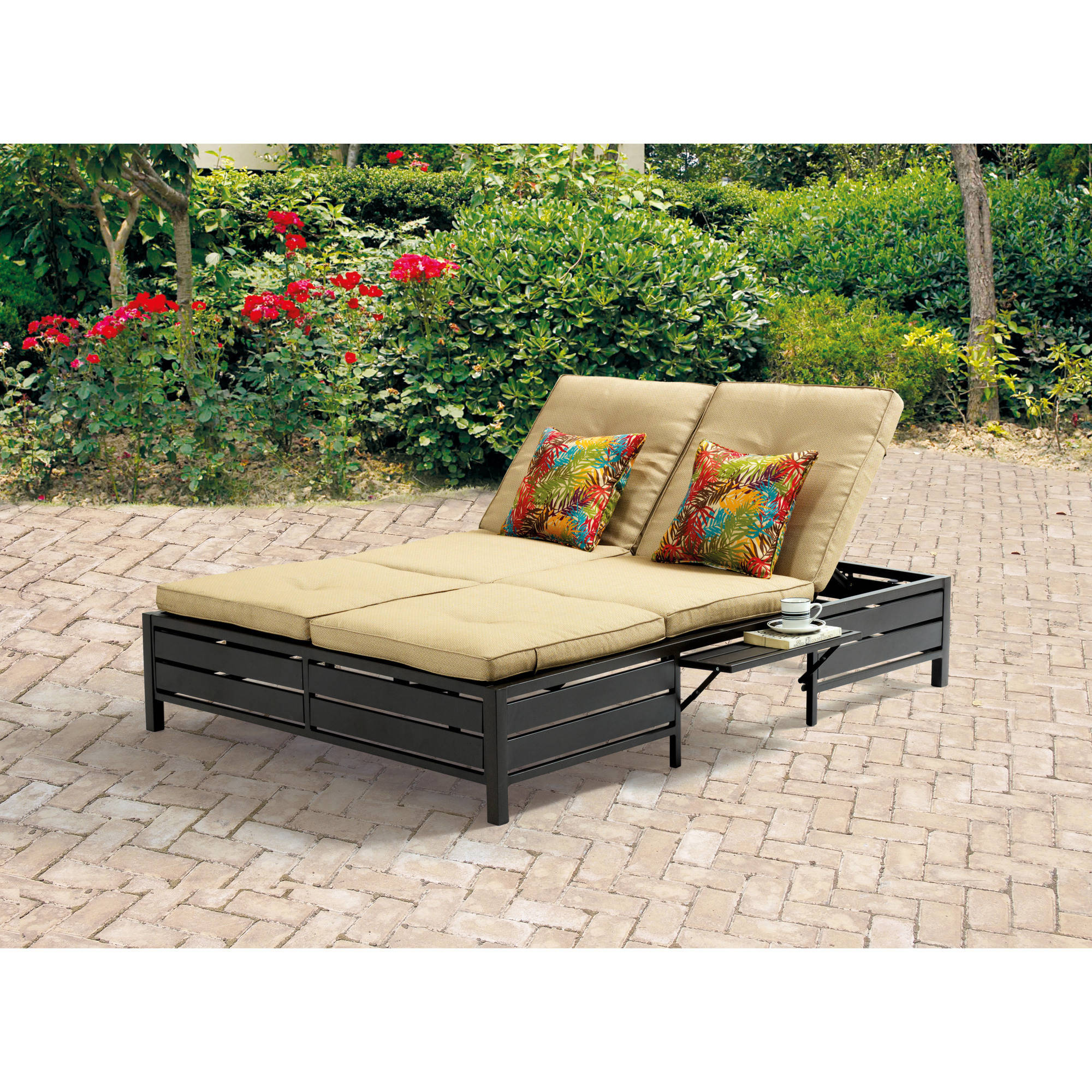 mainstays outdoor double chaise lounge bench for patio tan seats 2
