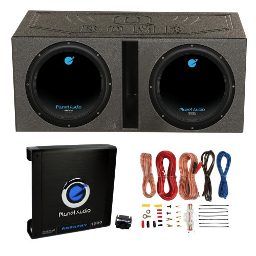 small resolution of 2 planet audio 12 1800w subwoofers vented lined box enclosure amp