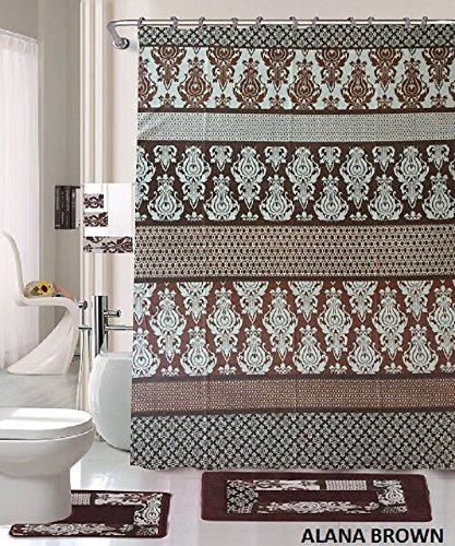 18 piece bath rug set coffee brown teal blue print bathroom rugs shower curtain rings and towels sets alana brown