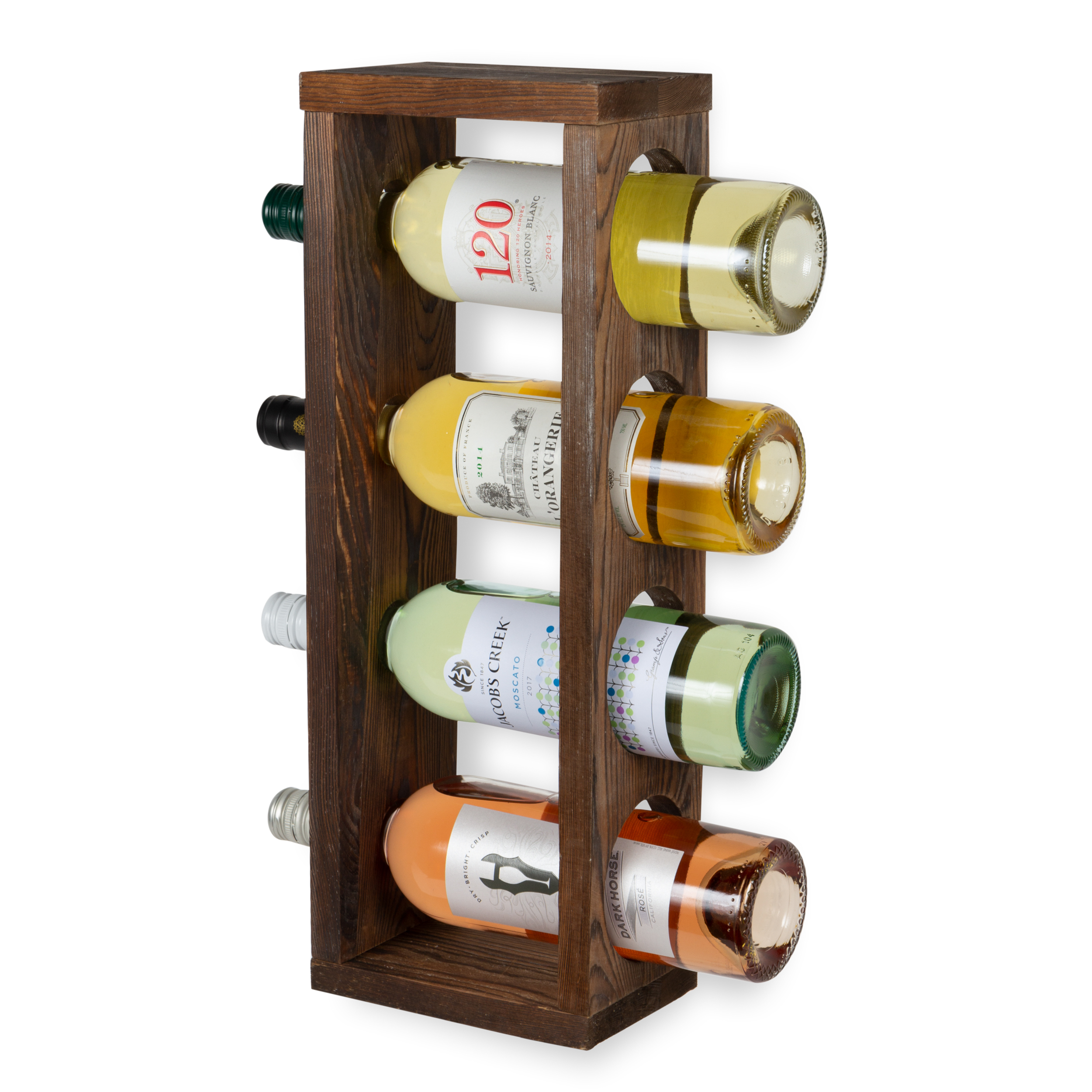 rustic state sonoma wood wine rack wall mountable or table top bottle holder holds 4 bottles