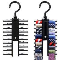 IPOW 2 Pack Multipurpose Swivel Black Tie Rack Scarf ...