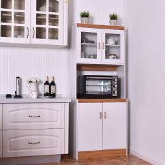 Kitchen Microwave Cart Amazon Chairs Gymax Tall Stand Storage Cabinet Shelves Pantry Cupboard White Walmart Com