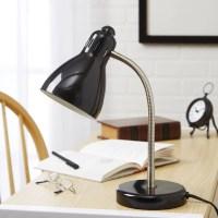 Mainstays Black Gooseneck Desk Lamp, CFL Bulb Included ...