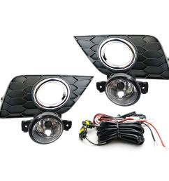 ijdmtoy complete set clear lens fog lights foglamp kit for 2016 up nissan sentra facelift with halogen bulbs wiring on off switch and garnish bezel  [ 1500 x 1500 Pixel ]