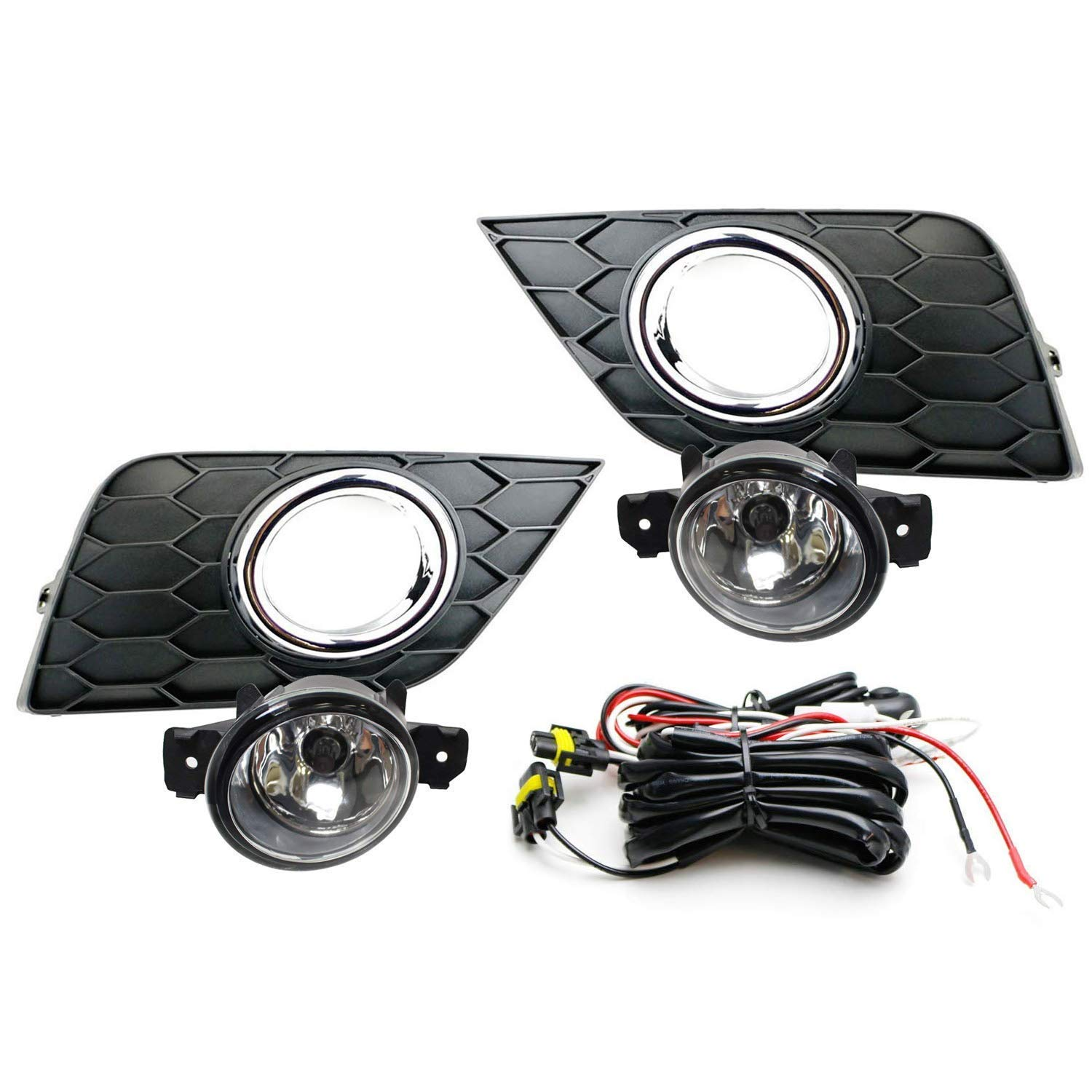 hight resolution of ijdmtoy complete set clear lens fog lights foglamp kit for 2016 up nissan sentra facelift with halogen bulbs wiring on off switch and garnish bezel
